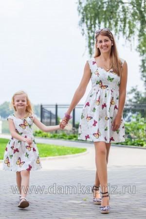 """Сарафан для девочки """"Бабочки-2"""" - интернет магазин одежды из льна Дамский Каприз"""