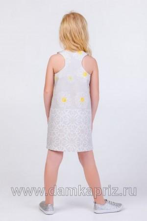 """Сарафан для девочки """"Ромашки-2"""" - интернет магазин одежды из льна Дамский Каприз"""