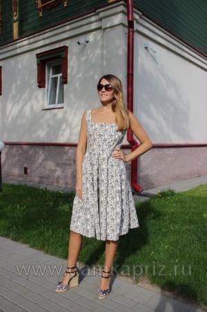 """Сарафан """"Цветы-2"""" - интернет магазин одежды из льна Дамский Каприз"""